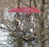 Songbird Essentials Suet Ball Red Roof Round Wire Circle Bird Feeder