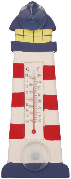 Songbird Essentials Red & White Striped Lighthouse Small Window Thermometer
