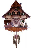 Musical Black Forest Cuckoo Clock with Dancers, Waterwheel, and Beer Drinker - 14 Inches Tall