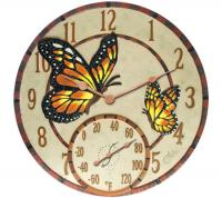 "Springfield 14"" Poly Resin Mosaic Butterflies Clock with Thermometer"
