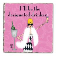 Counter Art Designated Drinker Single Tumbled Tile Coaster