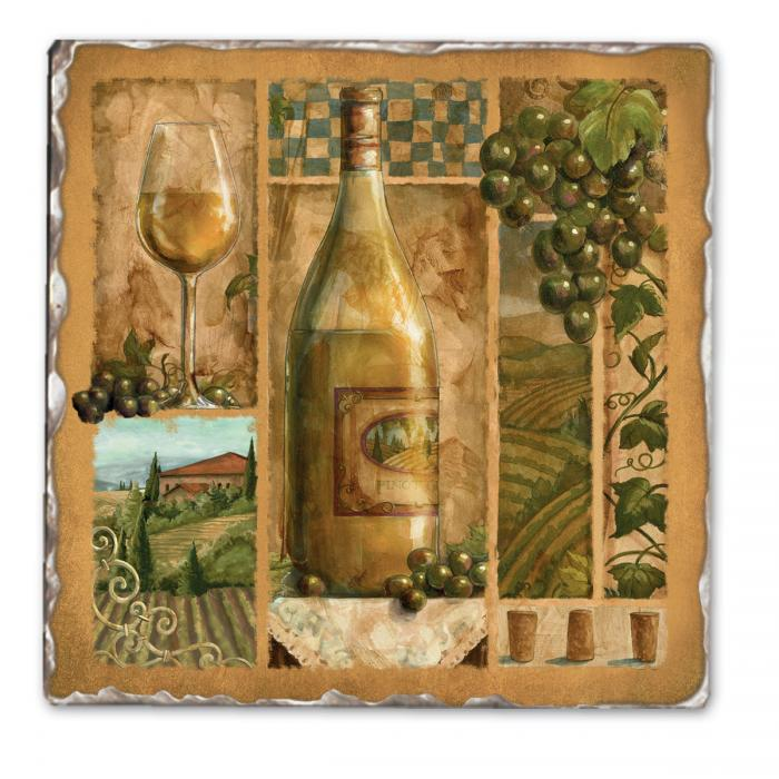 Counter Art Italian Wine White Single Tumbled Tile Coaster
