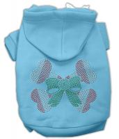 Candy Cane Crossbones Rhinestone Dog Hoodie Baby Blue/Small
