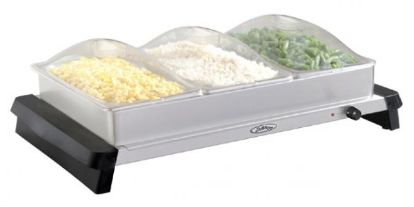 BroilKing Professional Triple Buffet Server w/ Stainless Base,Plastic Lids