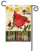 Magnet Works Happy Holidays Cardinals Garden Flag