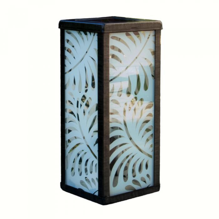 Smart Solar Frosted Palm Leaf Square Solar Lantern