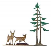 "30"" Deer & Pines Weathervane - Rooftop Color"