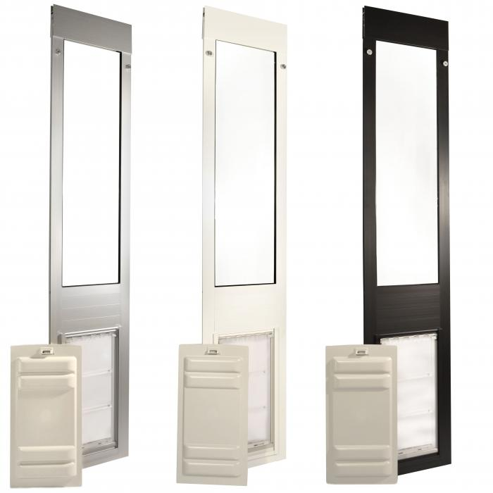 "Endura Flap Pet Door, Thermo Panel 3e, Small Flap, 6""w x 11""h -  74.75-77.75"" Tall, Bronze Frame"