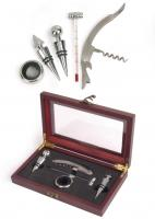 Picnic & Beyond Business Wine Gift Set with Corkscrew, 2 Bottle Stoppers, Drip Ring, and Thermometer
