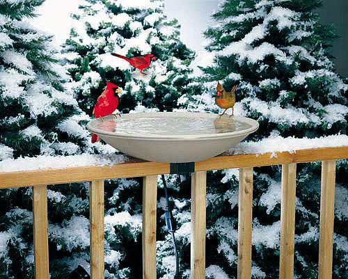 Birds Choice API Heated Birdbath with Deck Mount Bracket