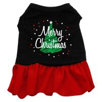 Scribble Merry Christmas Dog Dress - Black with Red/Extra Large