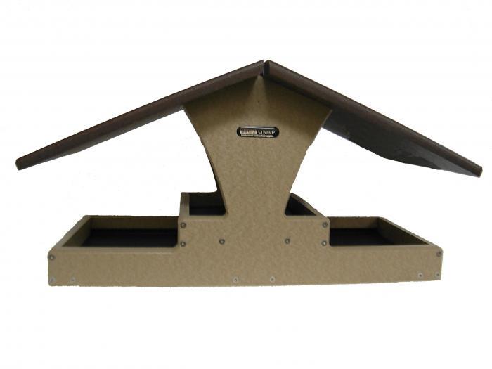 Birds Choice Recycled Double Decker Hopper Platform Bird Feeder (Brown Roof)