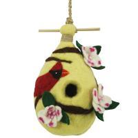 DZI Handmade Designs Dogwood Cardinal Felt Birdhouse
