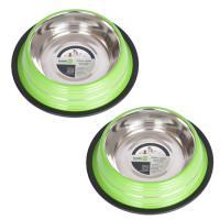2 Pack Color Splash Stripe Non-Skid Pet Bowl for Dog or Cat - Green - 64 oz - 8 cup