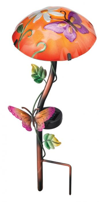 Regal Art & Gift Solar Mushroom Stake Butterfly