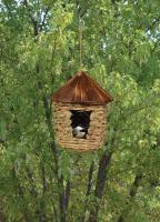 Songbird Essentials Large Hanging Grass Twine House w/Roof