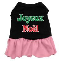 Joyeux Noel Dog Dress - Black with Pink/XXX Large