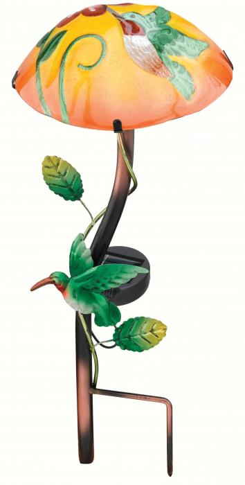 Regal Art & Gift Solar Mushroom Stake, Hummingbird