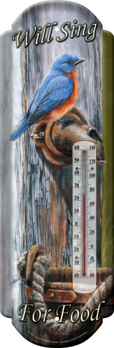 Rivers Edge Products Bluebird Tin Thermometer