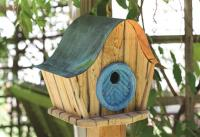 Heartwood Katy's Bird Kottage-- Natural/Blue Door