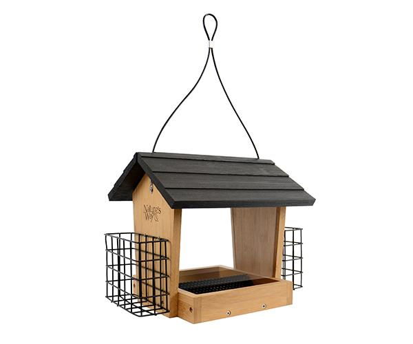 Nature's Way Bamboo 4 Qt Hopper Seed and Suet Feeder