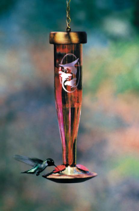 Schrodt Ruby Etched Lantern Hummingbird Bird Feeder