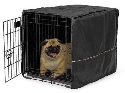 "Mid-West Quiet Time Black Pet Crate Cover, 24"""