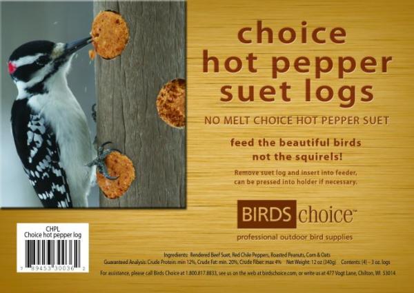 Birds Choice Hot Pepper Suet Logs, (4) 3oz. Logs