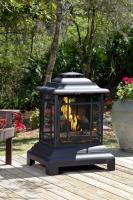 Fire Sense Black Steel Heat Resistant Steel Pagoda Patio Fireplace