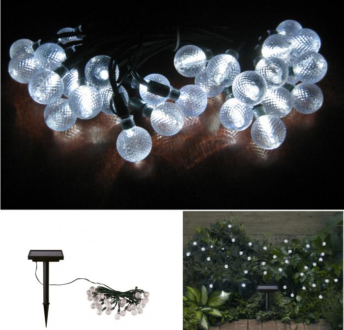 STI Group Solar Crystal Balls Light Strings 30 ct with White LED's and NiMh Battery
