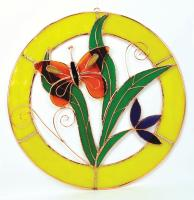 Gift Essentials Large Orange Butterfly Circle Window Panel