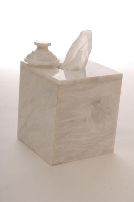 Imperial Bath Oyster White Marble Tissue Box