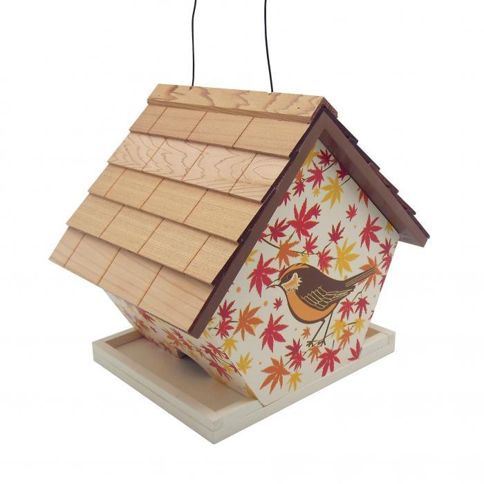 Home Bazaar Wren Cottage Bird Feeder: Wren w/ Maple Leaves