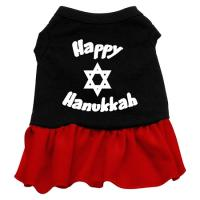 Happy Hanukkah Dog Dress - Black with Red/Extra Small