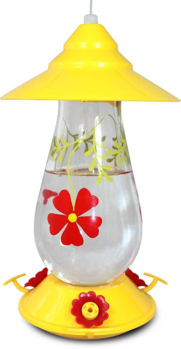 Pinebush Painted Flowers Glass Hummingbird Bird Feeder
