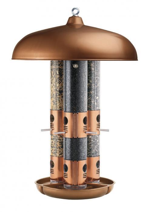 Opus Top Flight Copper Triple Tube Bird Feeder