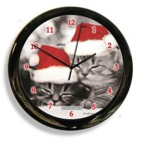 California Black And White Cat Clock (41616)