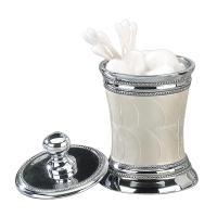 Nu Steel Fantasy Cotton Swab/Cotton Container, Enamel w/Chrome Plated Trim
