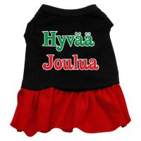 Hyvaa Joulua Dog Dress - Black with Red/Medium