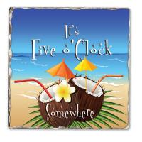 Counter Art 5 O'Clock Coconuts Single Tumbled Tile Coaster