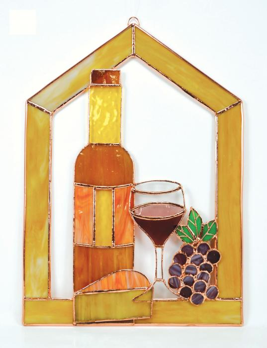 Gift Essentials Small Wine with Cheese and grapes Scene Steeple Window Panel