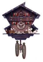 Eight Day Chalet Cuckoo Clock with Carved Deer, Dog, and Beer Drinker Drinking Beer - 12 Inches Tall