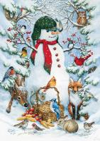 Toland Woodland Snowman House Flag