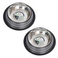 2 Pack Color Splash Stripe Non-Skid Pet Bowl for Dog or Cat - Black - 96 oz - 12 cup