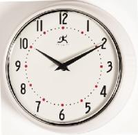 Infinity Retro Round Metal Wall Clock - White