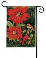 Magnet Works Poinsettia Cardinals Garden Flag