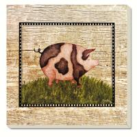 Counter Art Pig on Wood Coasters Set of 4