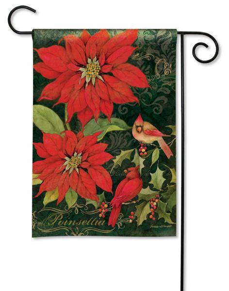Magnet Works Poinsettia Cardinals Garden Flag