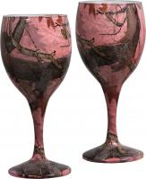 Rivers Edge Products Pink Camo Wine Glasses 2 pack