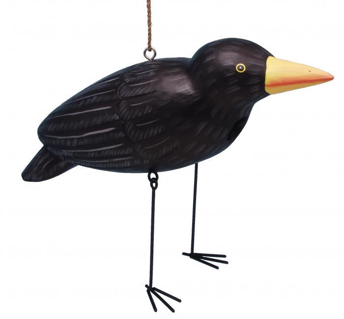Songbird Essentials Crow with Dangling Metal Legs Birdhouse